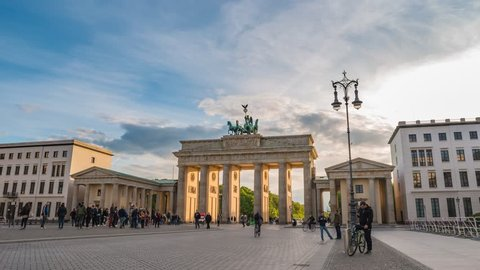 BERLIN, GERMANY - MAY 9, 2017: Berlin city skyline sunset timelapse at Brandenburg Gate (Brandenburger Tor), Berlin, Germany, 4K Time lapse