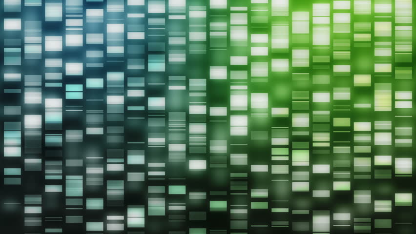 Cascading DNA strands in blue and green on black background