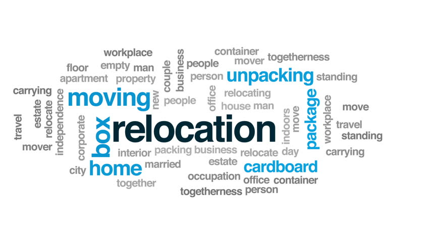 Relocation animated word cloud, text design animation.