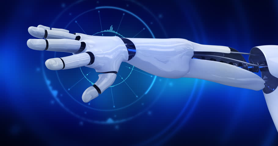Humanoid robot showing his arm with digital background animation. 4K+ 3D digital animation. #29134561