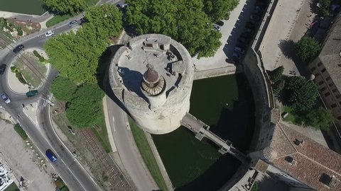 AIGUES MORTES - FRANCE 2016 - DRONE VIEW OF THE CONSTANCE TOWER. CAMARGUE.