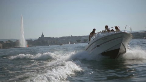 GENEVA, AUGUST 2016 : Young adult friends boat session