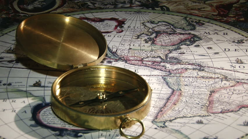 Gold compass, ancient map (year 1630.)