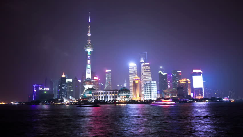 night scene of shanghai,time lapse