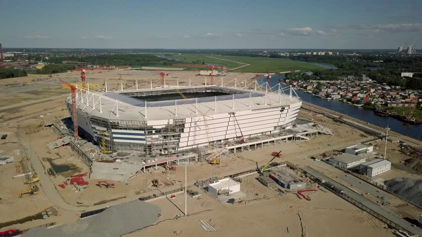Kaliningrad - Russia, July 22, 2017: Construction of a football stadium for Fifa World Cup 2018 aerial view
