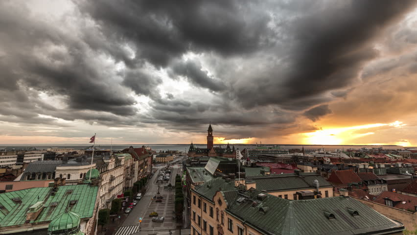 Time lapse of storm clouds over downtown Helsingborg