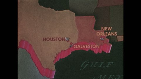 1950s: Map of USA, Texas and Louisiana emphasized. Cities of Houston, Galveston, and New Orleans emphasized. Dots appear on map adjacent to cities. Orange trapezoid next to illustrated skyscraper.