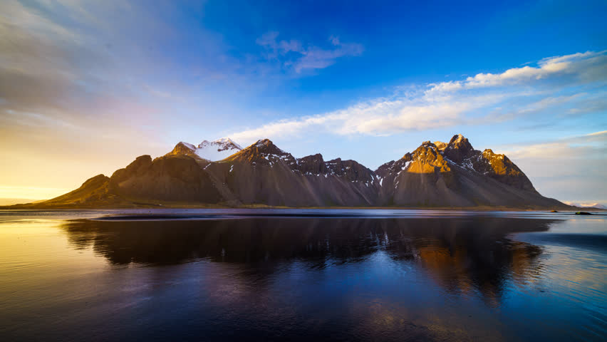 4K Time lapse of Vestrahorn mountain at sunset, Iceland  | Shutterstock HD Video #29202211