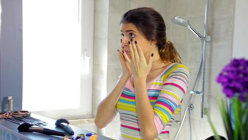 Woman in the morning in bathroom yawning tired looking in mirror | Shutterstock HD Video #29206234