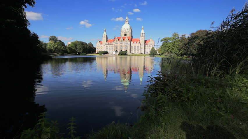 New City Hall of Hannover reflecting in water. Wide angle lens. 1920x1080 resolution