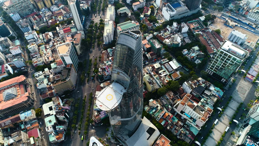 Aerial: Downtown Saigon (Ho Chi Minh City) business district. Iconic feature of the Saigon city center that for many, is the first thing that comes to mind when 'Saigon City' is mentioned.