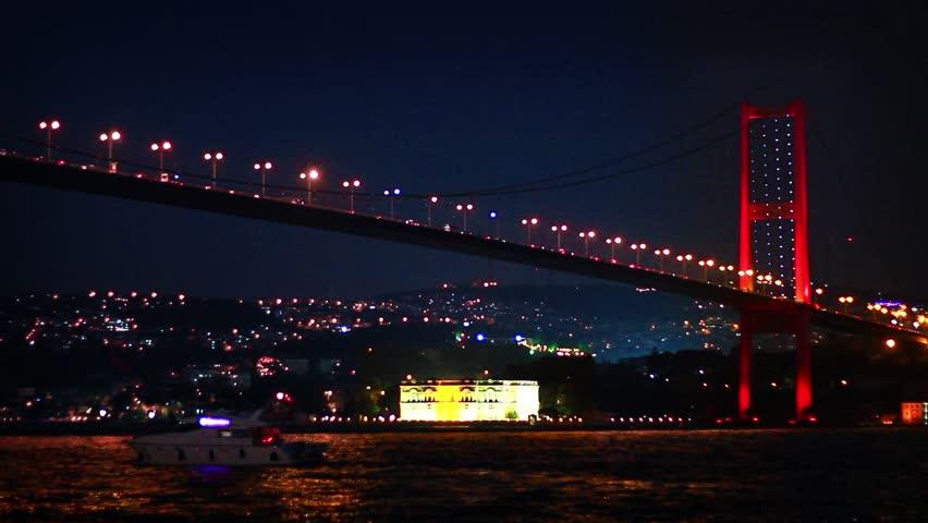 Bosphorus Bridge nightly light show in Istanbul, Turkey