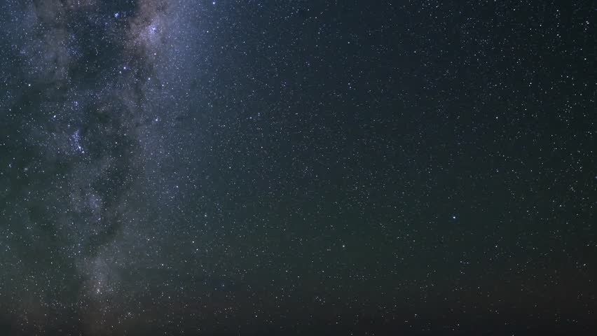 ROTATING MILKY WAY NIGHT DARK SKY WITH STARRY SKY.Astrophotograpy time lapse footage with tilt down motion of meteorite burst & milky way galaxy over desert rock formation during Geminid Meteor Shower