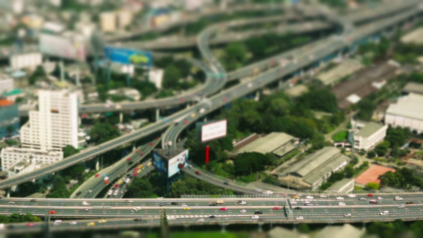 Aerial view - Traffic Bangkok - time-lapse - loop