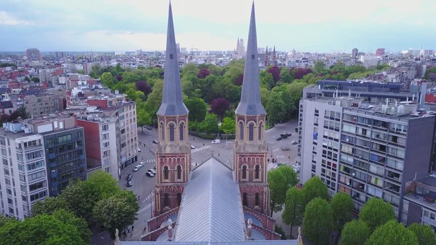 Church in Belgium, Antwerpen. Aerial footage drone 4k | Shutterstock HD Video #29279491