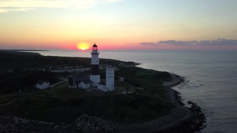 Montauk Lighthouse at Sunset filmed with a drone
