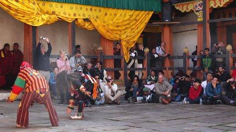 Bumthang, Bhutan - March, 2016: Tamshing Phala Chhoupa festival, Tamshing Monastery, nr Jakar