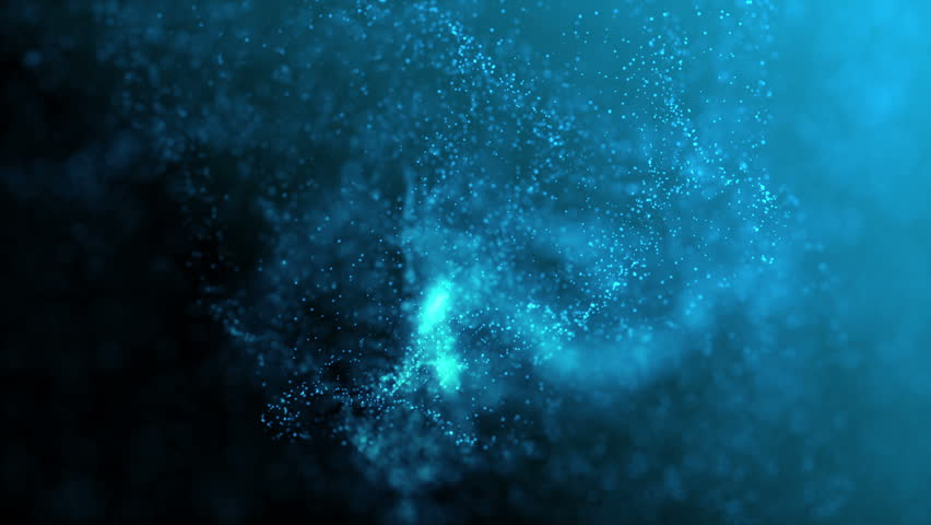 Blue illuminated particles in organic motion. Depth of field settings. 3D rendering. | Shutterstock HD Video #29324191