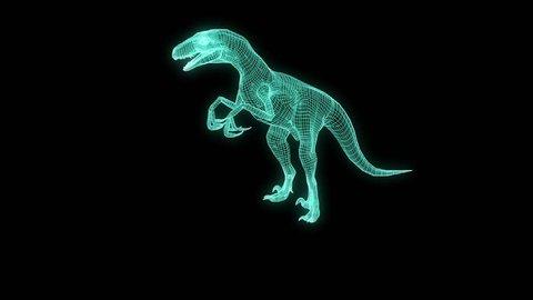 Dinosaur Raptor Velociraptor in Hologram Wireframe Style. Nice 3D Rendering