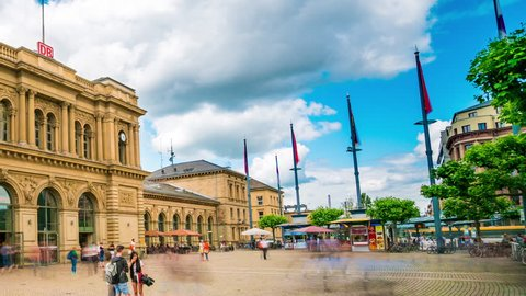 Mainz, Germany - June 22, 2016: Mainz Timelapse view showing pedestrians and public transport interchange by day