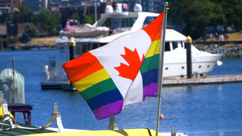 4K Pride Celebration Canada Flag, LGBT Rainbow Banner Gay Symbol, Slow Motion