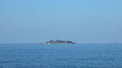 seascape with Hashima island in Japan