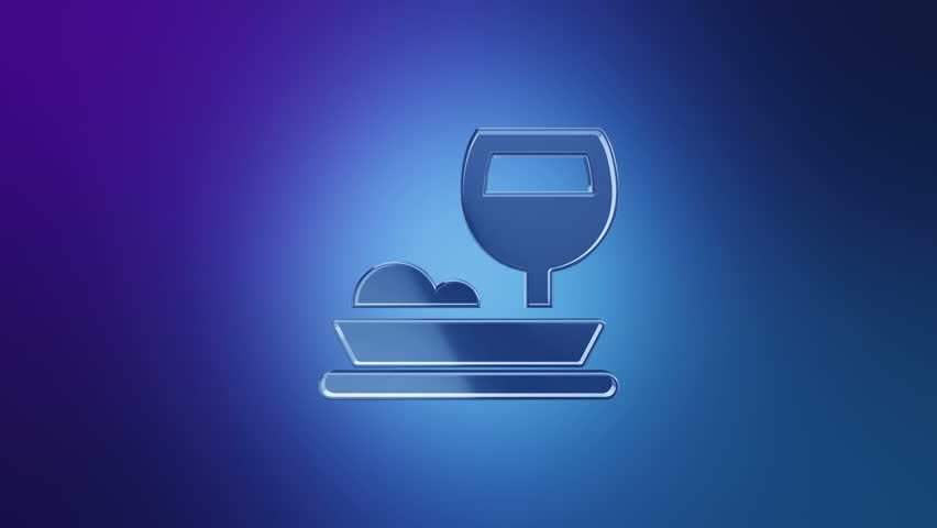 3D Animation rotation of symbol of food, drink, cafe, restaurant, foodstuff and eating from glass. Animation of seamless loop. | Shutterstock HD Video #29390761