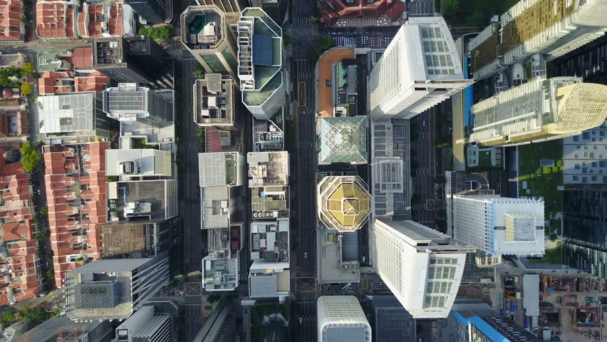 SINGAPORE - MAY 2017: Static overhead drone shot of commercial office buildings in central business district Singapore #29393851