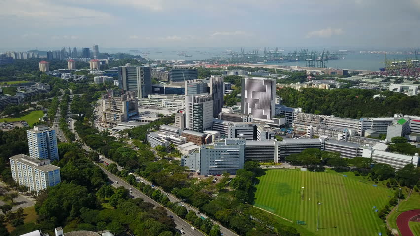 SINGAPORE - MAY 2017: Aerial view of hospital buildings of National University of Singapore