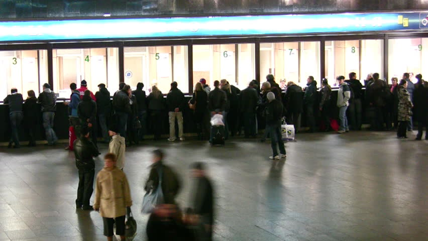 People in ticket hall of train station. Time lapse.  | Shutterstock HD Video #294208
