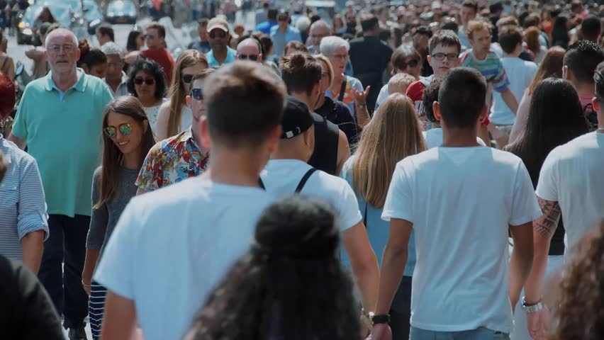 A busy place in the city - crowd of people on the streets - Extreme Slow Motion - AMSTERDAM / HOLLAND - JULY 21, 2017 | Shutterstock HD Video #29434891