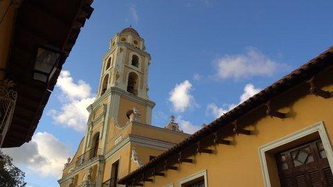TRINIDAD, CUBA - FEBRUARY 2017: Steadicam shot of a church tower in Trinidad, Cuba