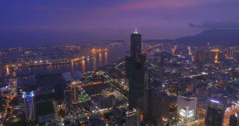 Aerial view of Tuntex Sky Tower and the exhibition center in Kaohsiung, Taiwan