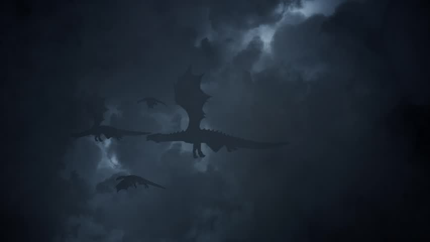 Family of Dragons Flying Through a Lightning Storm | Shutterstock HD Video #29500651