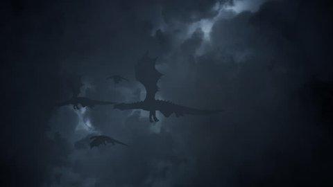 Family of Dragons Flying Through a Lightning Storm