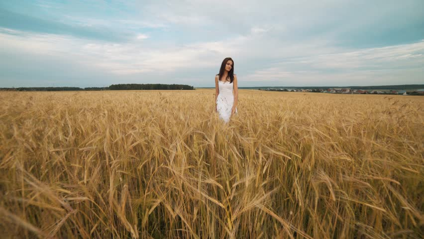 Young woman in white dress walking along cereal field | Shutterstock HD Video #29509231