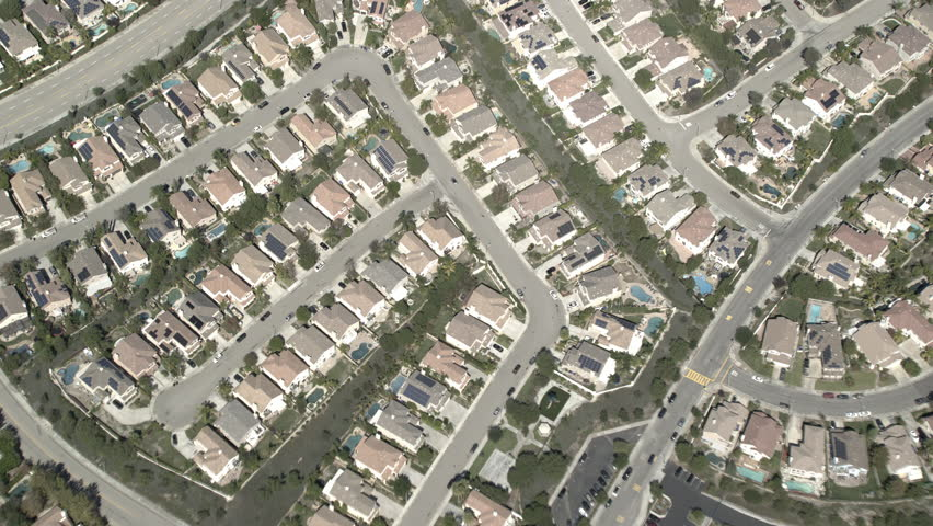 Day aerial pull back nice suburban houses swimming pools wide residential cookie cutter neighborhood, | Shutterstock HD Video #29545741