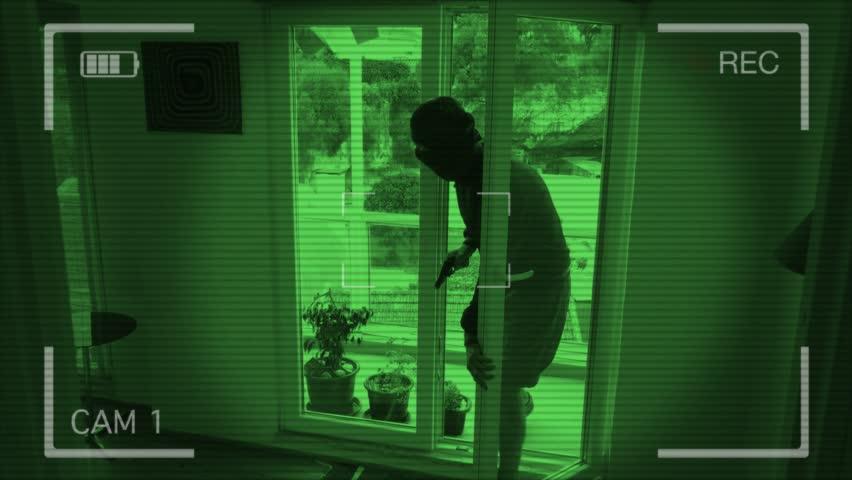 CCTV Camera Records A Home Burglary. Burglar With A Gun ...