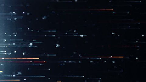 Abstract background with animation of fast flying flickering particles as data transfer. Animation of seamless loop.