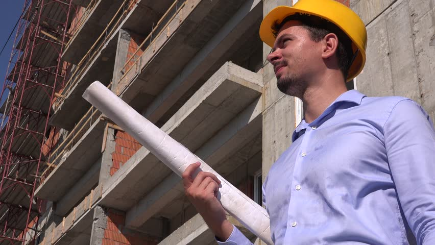 Architect profession reading blueprint construction plan builder sweaty shirt on overworked career construction worker job workman with blueprint 4k stock video clip malvernweather Image collections