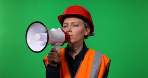 Engineer Woman Talking At Megaphone Announce Bad News, Voice Shouting Green Screen