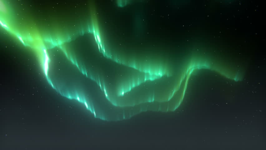 Beautiful Aurora Borealis / Northern Lights - HD 1080.  The undulating form of the aurora borealis dances across the atmosphere over a slowly rotating starry sky.