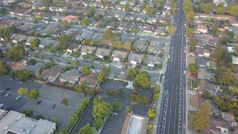 Ariel view of houses in California, Suburbs.