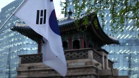 South Korea, Flag, Seoul Dongsibjagak Watchtower, Gyeongbokgung Palace