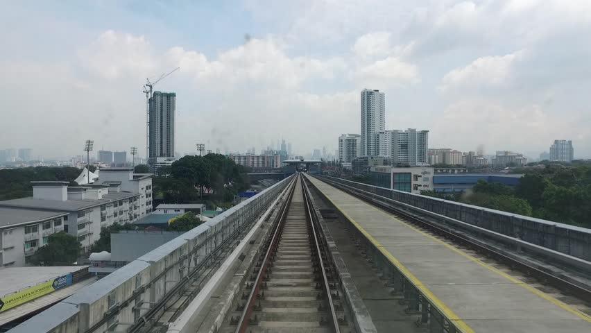 KUALA LUMPUR, MALAYSIA  - AUGUST 9, 2017: interior of MRT train. The Mass Rapid Transit railway system in Kuala Lumpur. POV