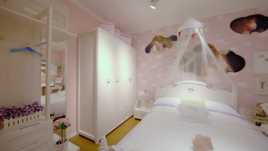 Girls Bedroom With Many Furniture And Pink Color Wallpapers, Panoramic  Motion   HD Stock Footage