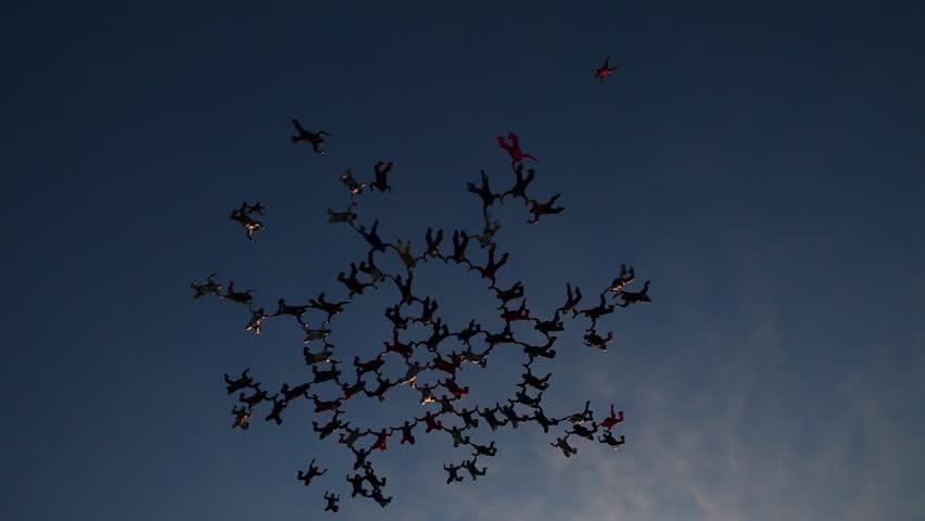 Skydiving big formation at sunset