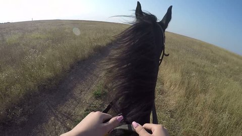 PoV: Young girl horseback rider riding horse on country road. Female rider's point of view of black stallion running across dry grass field