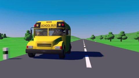 Back to school. School bus goes to school. The bus carries children to school.