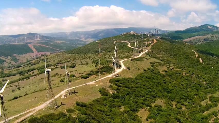 Drone flying over windmills near Tarifa, Spain. | Shutterstock HD Video #29801851